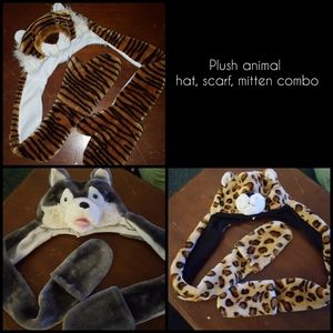 Other - Plush animal hat, scarf, mitten combo sets